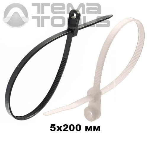 Стяжка кабельная с кольцом 5х200 мм