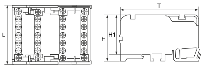Шина нулевая в пластиковом корпусе (кросс-модули) TTC 4 шины чертеж