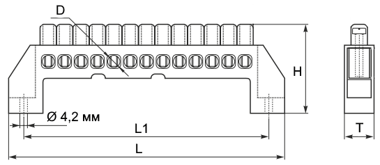 шина нулевая в изоляторе чертеж
