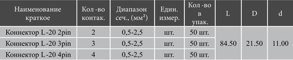 Коннектор L20 габариты