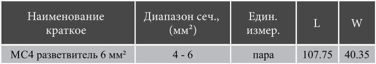 mc4 разветвители габариты