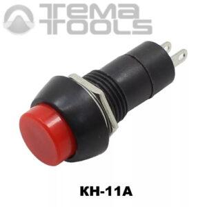 Кнопка нажимная КН-11А с фиксацией с красной круглой клавишей