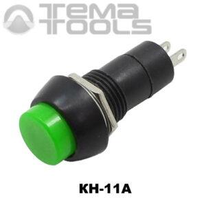 Кнопка нажимная КН-11А с фиксацией с зеленой круглой клавишей