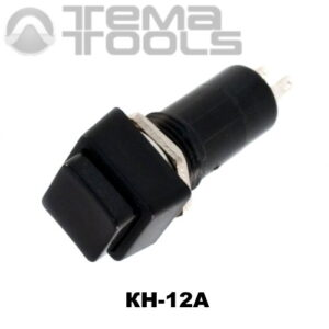 Кнопка нажимная КН-12А с фиксацией с черной квадратной клавишей