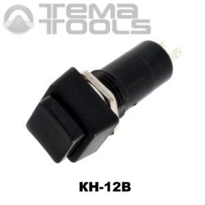 Кнопка нажимная КН-12В без фиксации с черной квадратной клавишей