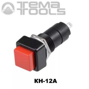 Кнопка нажимная КН-12А с фиксацией с красной квадратной клавишей