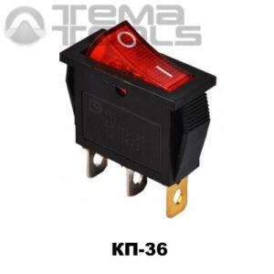 Клавишный переключатель КП-36 с красной узкой прямоугольной клавишей