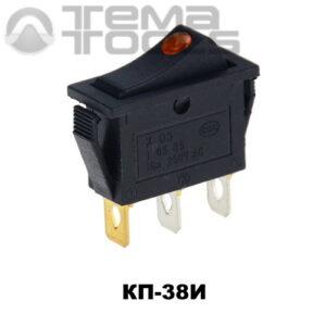 Клавишный переключатель КП-38И с узкой прямоугольной клавишей с подсветкой в виде глазка – купить рокерные клавишные переключатели 220В 15А с фиксацией в узком корпусе